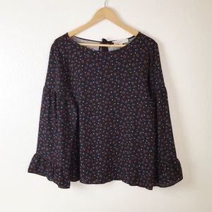 Loft Floral Bell Sleeve Mixed Media Top L